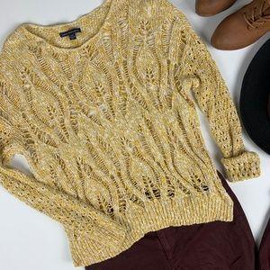 AE Crochet Open Knit Yellow White Sweater M